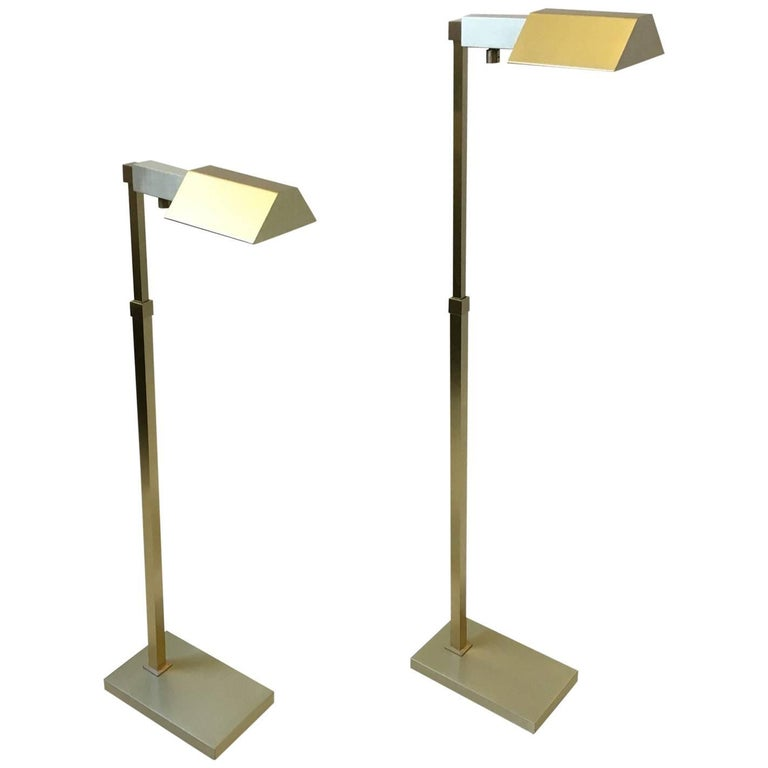 Pair of adjustable brushed brass floor lamps by casella at for Casella brass floor lamp