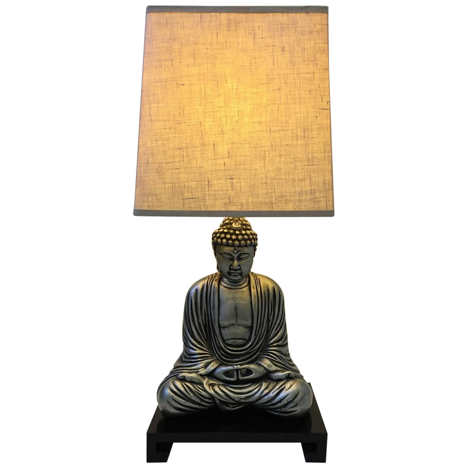 Silver And Black Lacquered Buddha Table Lamp In The Style Of James Mont