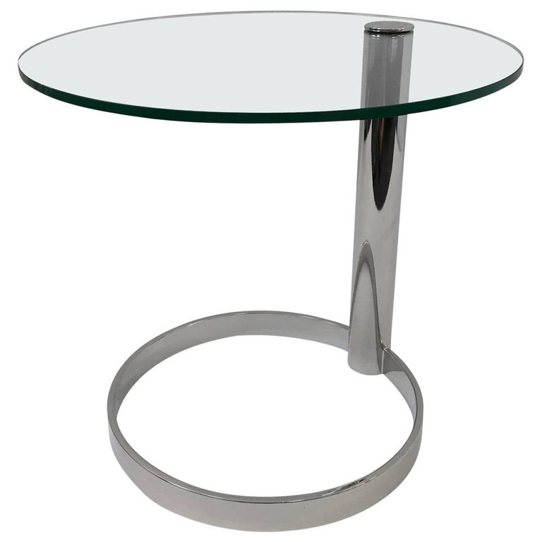 Polished Nickel and Glass Side Table by Pace Collection