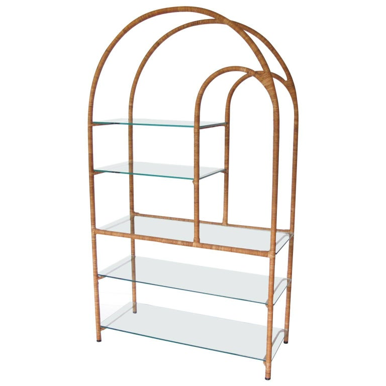mid century modern milo baughman style rattan and glass etagere bookcase for sale at 1stdibs. Black Bedroom Furniture Sets. Home Design Ideas