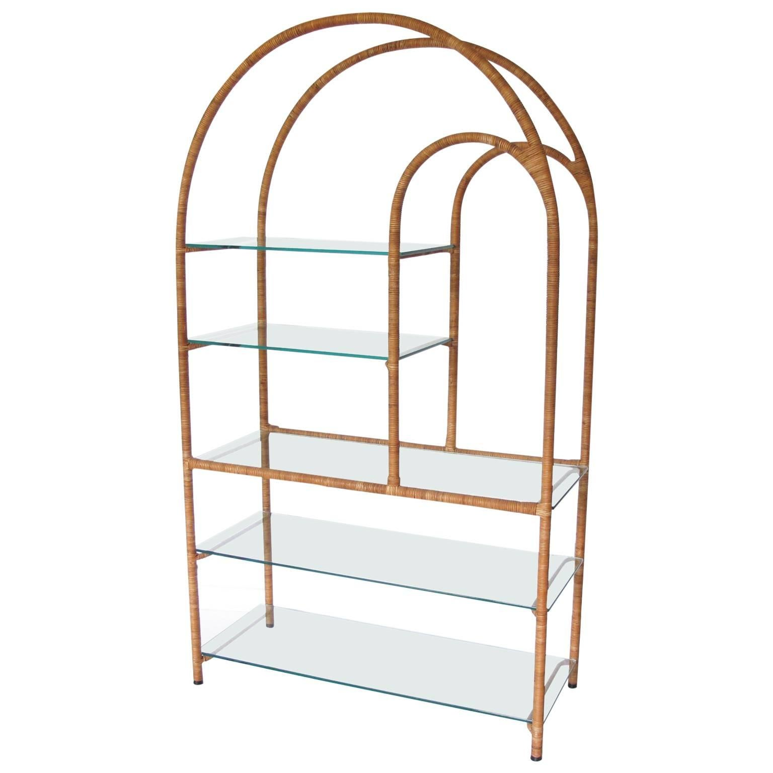 midcentury modern milo baughman style rattan and glass etagere bookcase