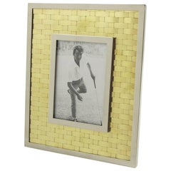Italian Chrome and Brass Picture Photo Frame, Woven Design, circa 1970s