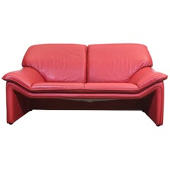 Laauser Designer Sofa Red Leather Two-Seat Couch Modern