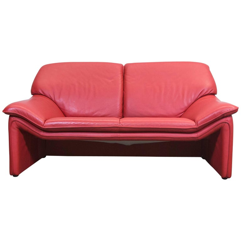 Laauser Designer Sofa Red Leather Two Seat Couch Modern