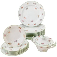 Vintage Japanese Floral Motif Dinnerware, Set of 16