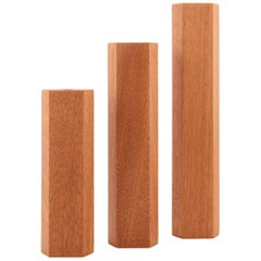 Bloc Contemporary Geometric Wood Single-Bud Vase Set of Tree