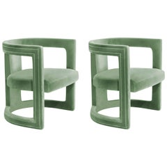 Pair of Modern European Green Cotton Velvet Armchair Tub Lounge Cocktail Chairs