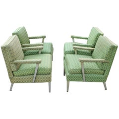 Set of Four SS United States First Class Cabin Upholstered Arm Chairs