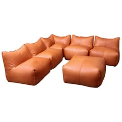 Six Pieces of Sectional Bambole Sofa, Mario Bellini for B&B Italia Tan Leather