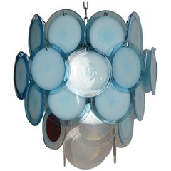 Blue Disc Murano Chandelier by Vistosi, Italy