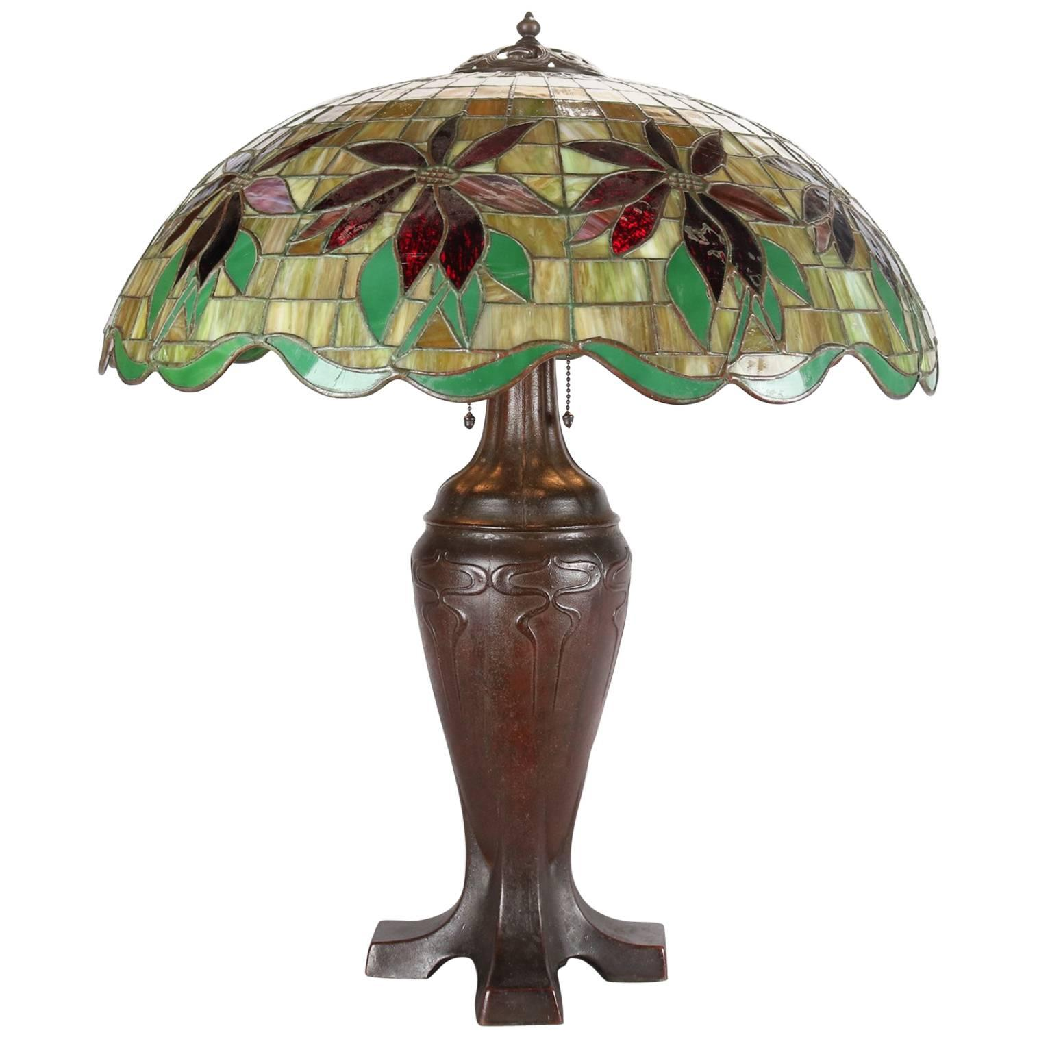 Elegant Antique Handel Mosaic Leaded Stained Glass Table Lamp, Poinsettia Design 1