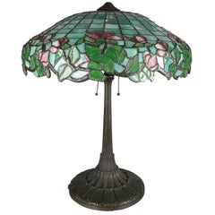 Antique Gorham Art Nouveau Mosaic Leaded Stained Glass Lamp, Rose and Petal