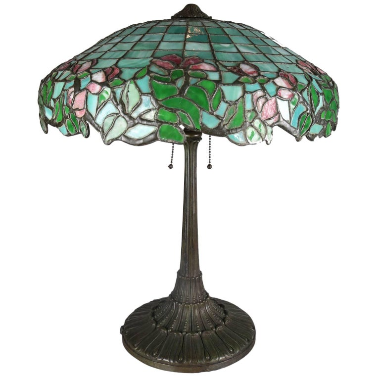 Antique Gorham Art Nouveau Mosaic Leaded Stained Glass Lamp, Rose and Petal 1