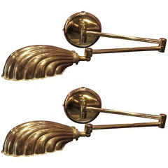 Pair of Italian Gilt Brass Swing Arm Shell Sconces, circa 1950