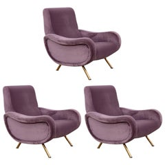 Set of Three Lady Chairs by Marco Zanuso for Arflex in New Upholstery