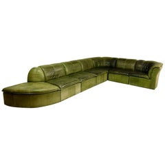 Mid-Century Modular Patchwork Sofa by Laauser in Olive Green Nubuck Leather