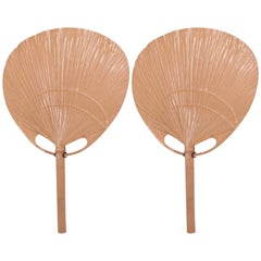 Pair of Ingo Maurer Uchiwa Wall Lamps in Mint Condition Bamboo