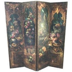 Early 19th Century Leather Painted Screen with Birds and Foliage