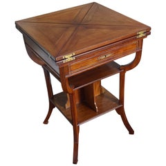 Jugendstil Mahogany Cards/Games Table with Bookcase by Pander of the Hague
