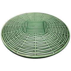 Belgian Faience Green Glazed Cheese or Tart Serving Plate in a Woven Form