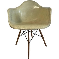"1st Edition Charles Eames ""Paw Chair"" Swivel  Fiberglass Shell Dowel Leg Walnut"