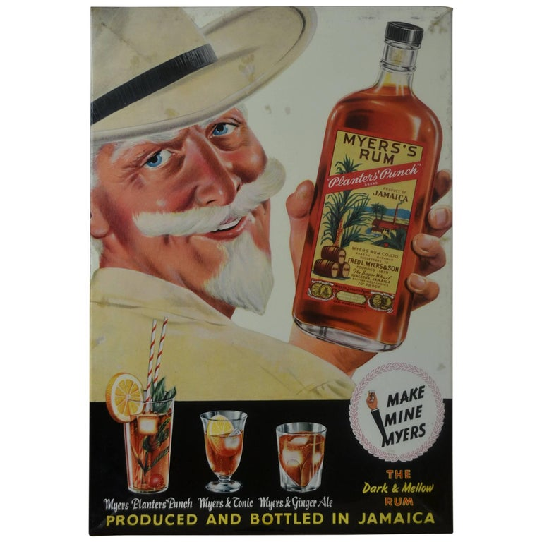 1960s Myers's Rum Counter Display Advertising Sign