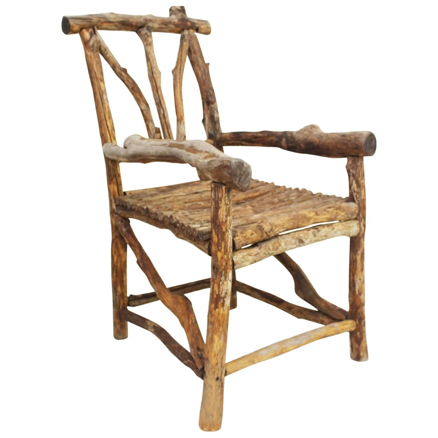 19th Century French Folk Art Shephers Wooden Armchair For Sale