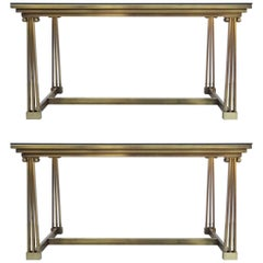 Two Neoclassical Brass and Glass Dining Table or Desk
