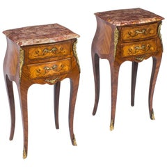 Antique Pair of French Kingwood and Marquetry Bedside Cabinets, circa 1900