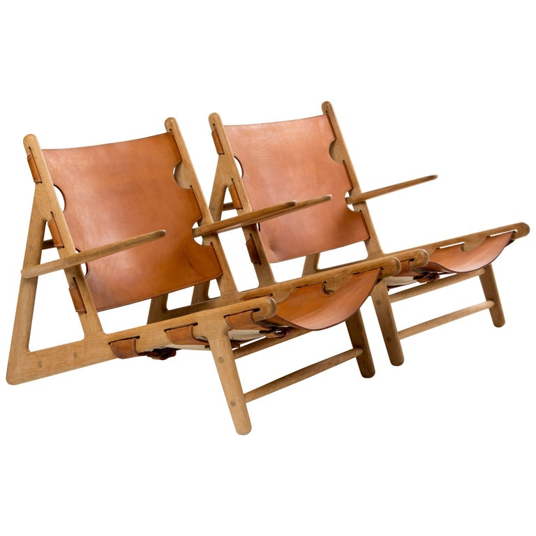set HUNTING CHAIRS of Borge Mogensen in saddle leather