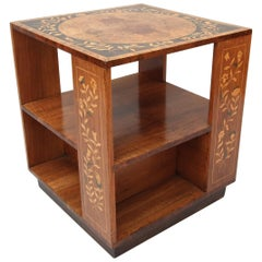 Marquetry Floral Booktable Burr Walnut