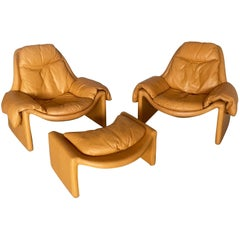 Proposals 2 Lounge Chairs with Ottoman by Vittorio Introini for Saporiti, 1960s