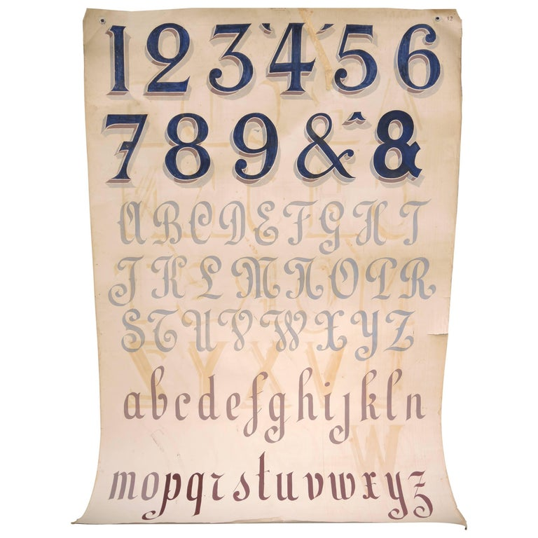 Vintage Hand-Painted Sign Makers Chart