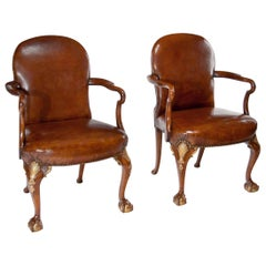 Superb Pair of Walnut Parcel-Gilt Leather Armchairs