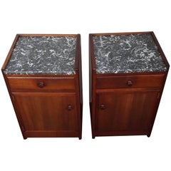 Stunning Art Deco Mahogany & Marble Nightstands Bedside Tables by J.A. Huizinga