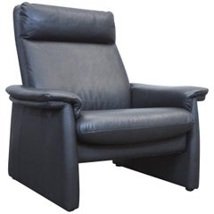 Laauser Designer Armchair Black Leather One-Seat Couch Function Modern