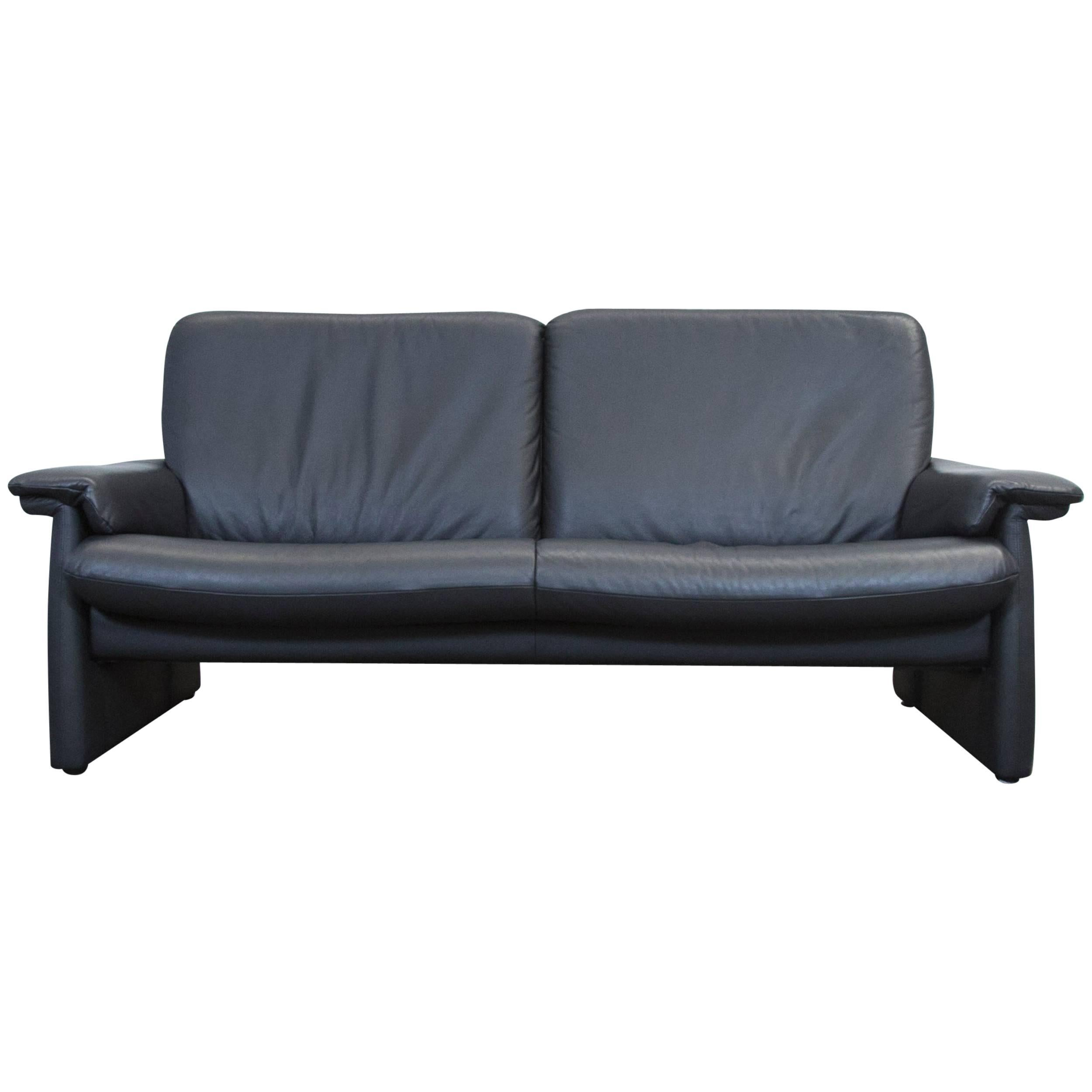 Laauser Designer Sofa Black Leather Three Seat Couch Modern For Sale At  1stdibs