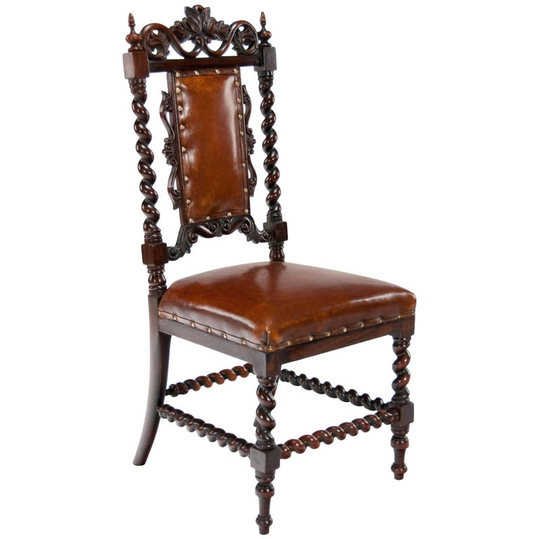 Good Quality Victorian Rosewood Leather Side Chair For Sale