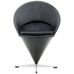 Verner Panton Black Leather Cone Chair, 1958