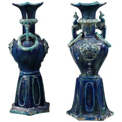 Pair of Early Blue and Turquoise Chinese Pottery Vases