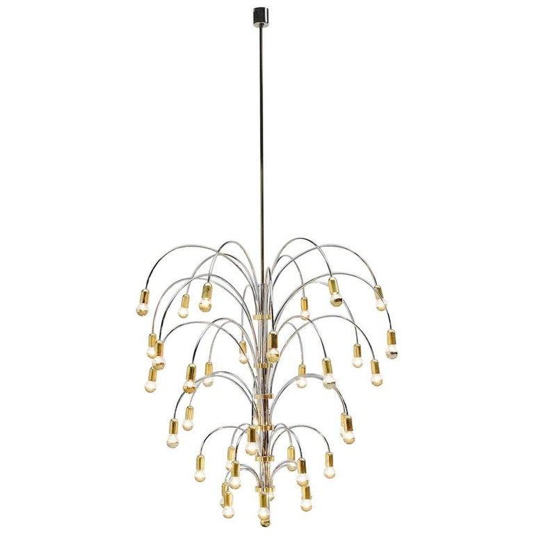 Extra Large Chandelier in Chrome and Brass, Italy, 1970