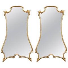 Pair of Giltwood Shaped Wall Mirrors