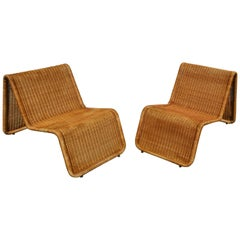Pair of Wicker Lounge Chairs by Tito Agnoli for Bonacina, Italy, 1960s
