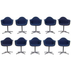 Set of Ten Herman Miller Upholstered Shell Chairs on Swivel X-Bases, Mid-Century