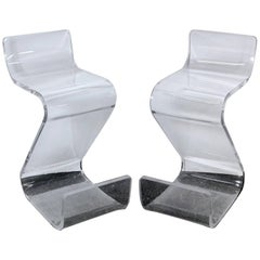 Pair of Thick Lucite Z-Stools, Mid-Century
