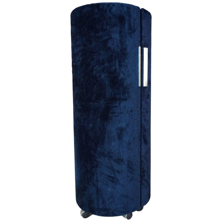 Italian Vanity In Blue Fur Design Space Age 1970 By
