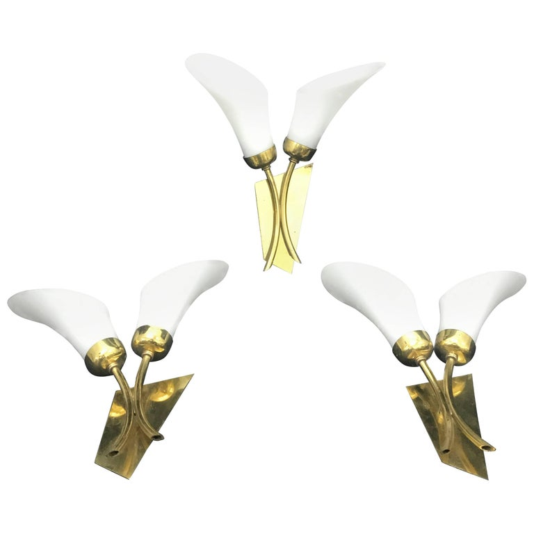 Mid-Century Modern Tulip Wall Sconces, Italy, 1950