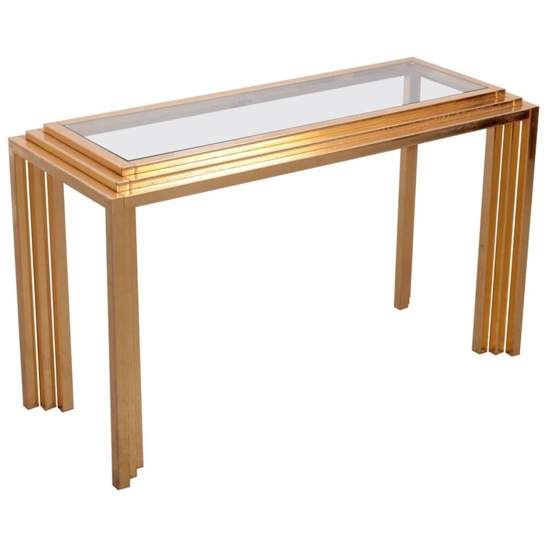 Brass Skyscraper Console or Side Table in the Manner of Willy Rizzo