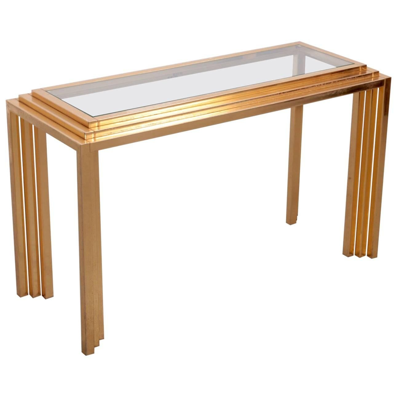 Charming Brass Skyscraper Console Or Side Table In The Manner Of Willy Rizzo