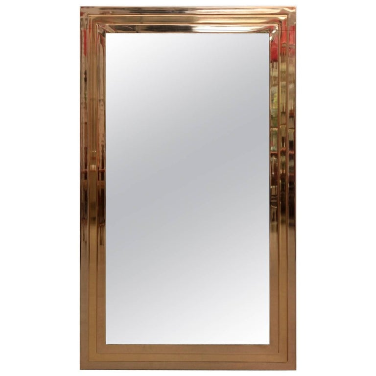 Brass Skyscarper Mirror in the Manner of Willy Rizzo